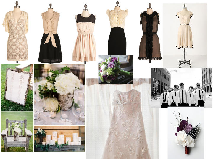 Black Cream and Purple PANTONE WEDDING Styleboard The Dessy Group