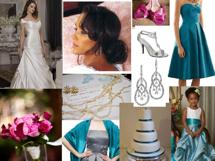 TEAL AND SILVER WEDDING PANTONE WEDDING Styleboard The Dessy Group