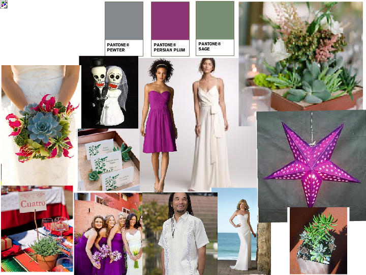 Succulent Mexican Theme 2 PANTONE WEDDING Styleboard The Dessy Group