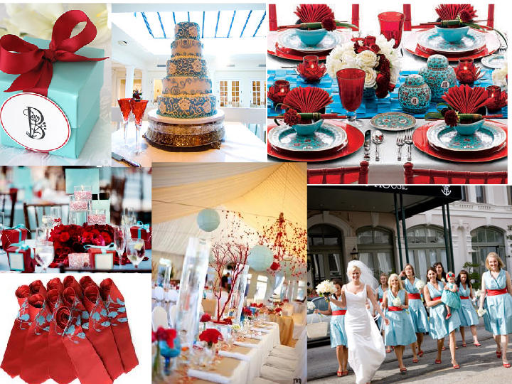 Turquoise blue and Red wedding PANTONE WEDDING Styleboard The Dessy