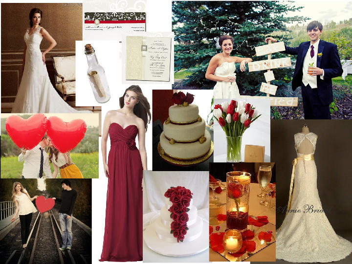 Red Wine And Champagne PANTONE WEDDING Styleboard