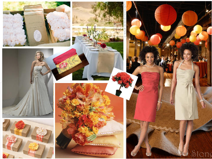 Coral Sunflower Burlap Spring Wedding PANTONE WEDDING Styleboard The