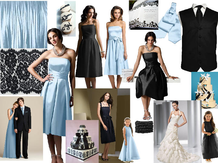 Black White an Ice Blue PANTONE WEDDING Styleboard The Dessy Group