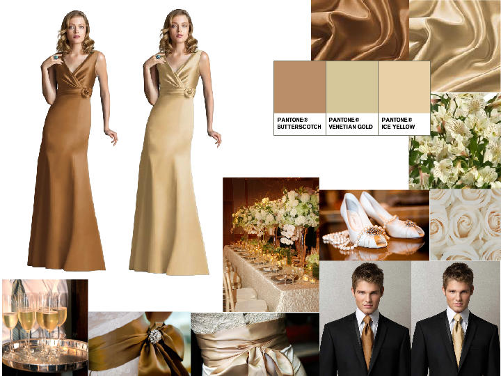 Champagne And Gold Pantone Wedding Styleboard The