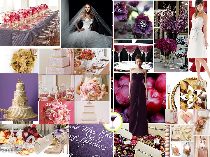 Pink Purple N gold PANTONE WEDDING Styleboard The Dessy Group