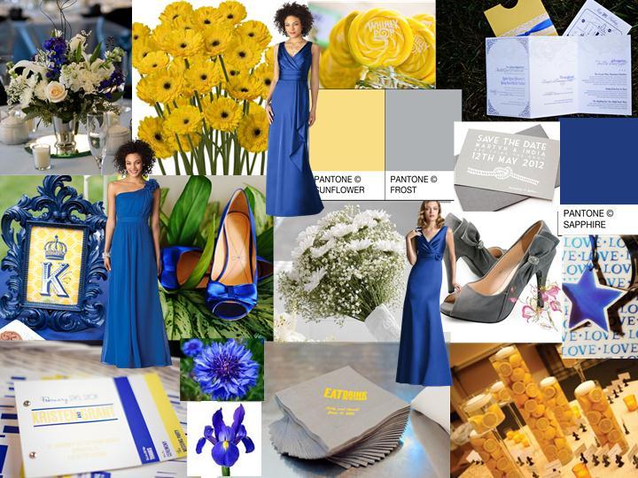 Blue/Yellow/Grey Summer Wedding : PANTONE WEDDING Styleboard   The ...