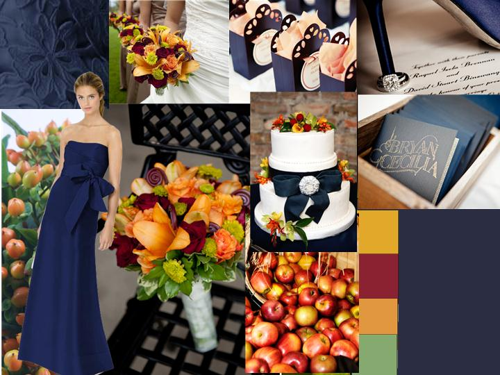 Navy blue with fall palette pantone wedding styleboard for Navy dress for fall wedding