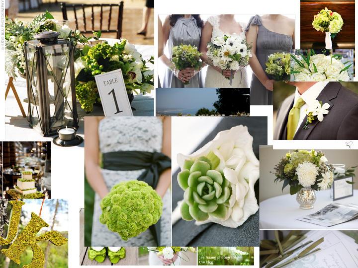 Grey/Green/Orange : PANTONE WEDDING Styleboard | The Dessy Group