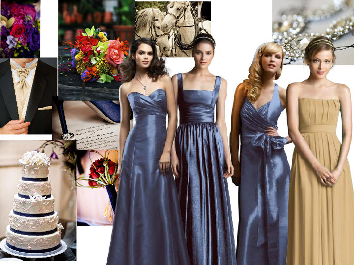Gold And Steel Blue Pantone Wedding Styleboard The Dessy Group