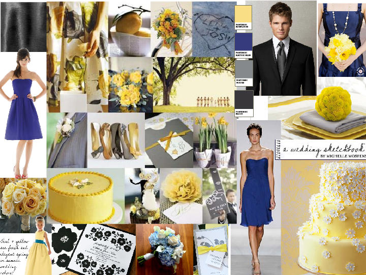 Dark Blue And Yellow Wedding: Yellow, Cobalt Blue, Pewter & Black : PANTONE WEDDING