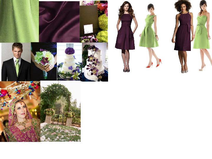 Grape and Chartreuse : PANTONE WEDDING Styleboard | The Dessy Group