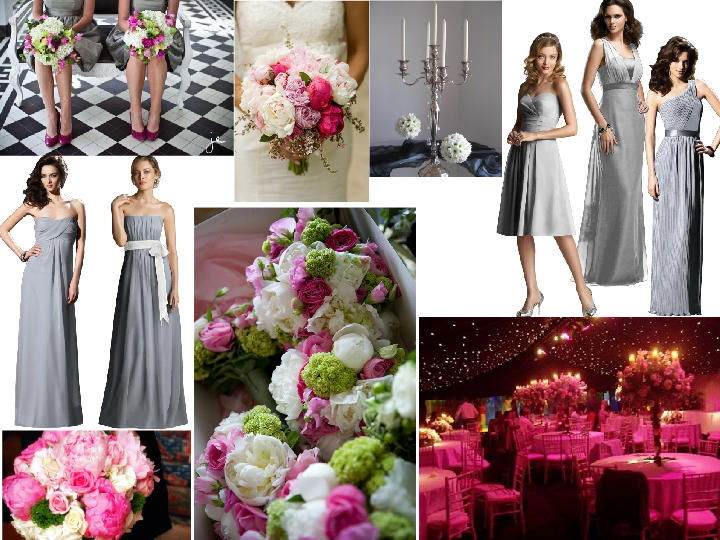 first try at pink, grey, green and white : PANTONE WEDDING ...