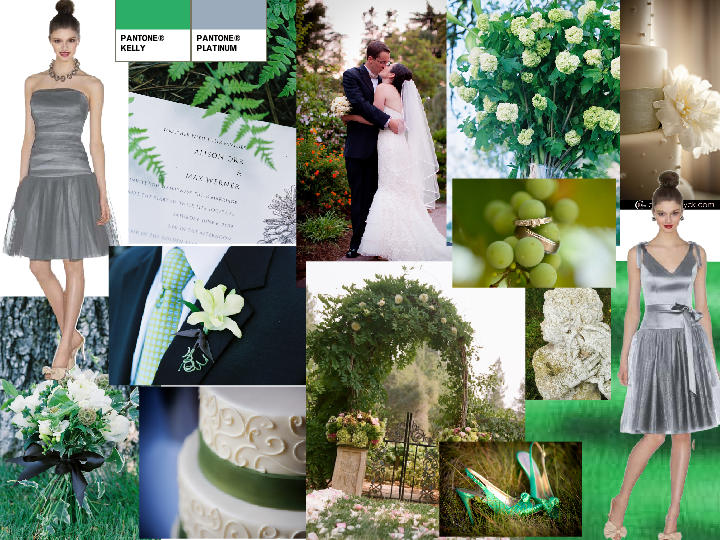 ea105f18d6 Platinum and Kelly Green : PANTONE WEDDING Styleboard | The Dessy Group