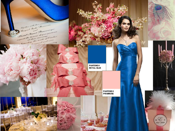 Royal Blue And Light Pink Pantone Wedding Styleboard The Dessy