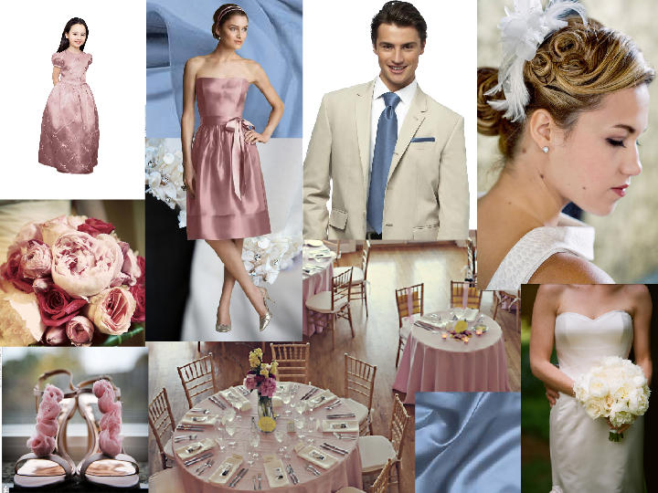 Dusty Rose And Windsor Blue Pantone Wedding Styleboard The Dessy