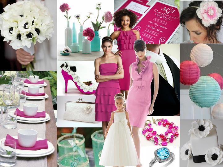 Tiffany Blue and Fuschia : PANTONE WEDDING Styleboard   The Dessy Group