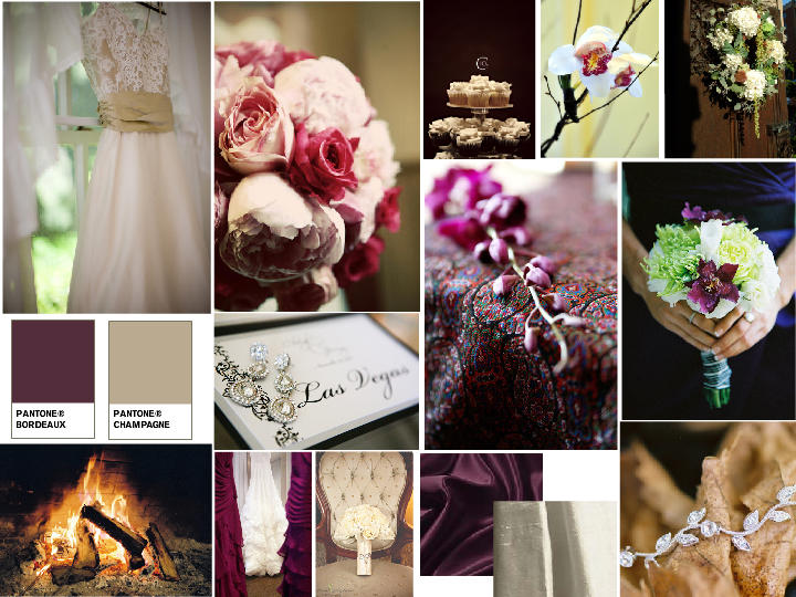 Bordeaux and Champagne : PANTONE WEDDING Styleboard | The Dessy Group