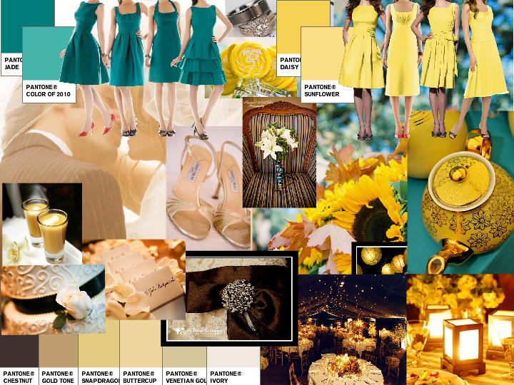 Teal, Yellow, Brown, Ivory : PANTONE WEDDING Styleboard | The Dessy ...