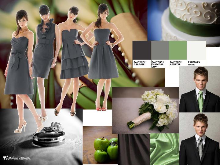 Green/Grey : PANTONE WEDDING Styleboard | The Dessy Group