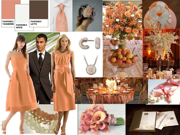 Peach, Brown and White Wedding : PANTONE WEDDING Styleboard | The ...