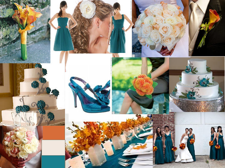 Brown And Teal Wedding Ideas: Libby Dark Teal And Orange : PANTONE WEDDING Styleboard