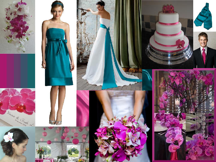 Turquoise Fuchsia Wedding: Teal & Fuschia : PANTONE WEDDING Styleboard