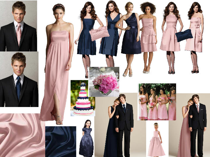 Navy and pale pink : PANTONE WEDDING Styleboard | The Dessy Group