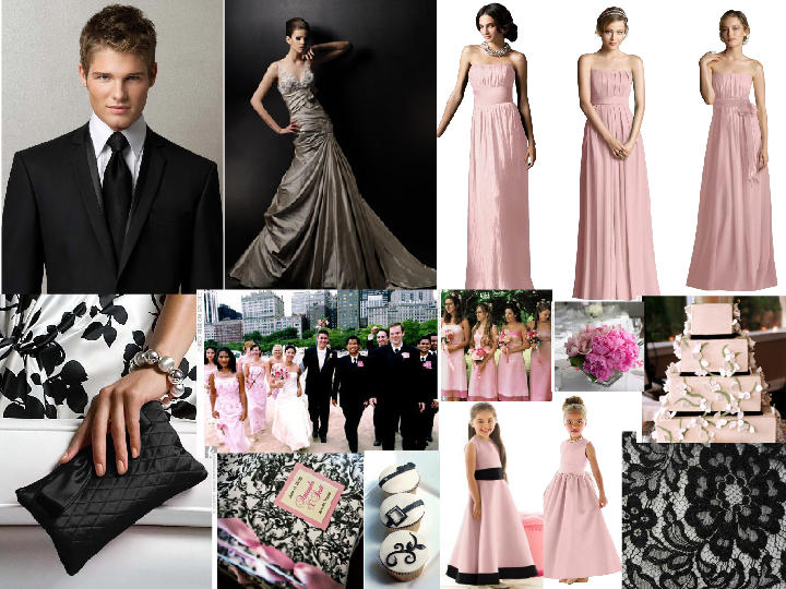 Black And White Pale Pink PANTONE WEDDING Styleboard