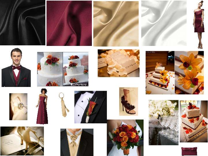 BLACK, BURGUNDY, VENETIAN GOLD, & IVORY : PANTONE WEDDING Styleboard ...