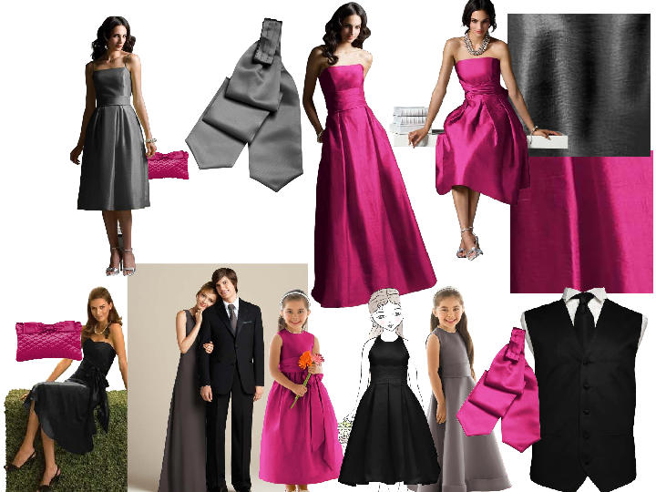 c1eb5b528281d Charcoal and Hot Pink : PANTONE WEDDING Styleboard | The Dessy Group