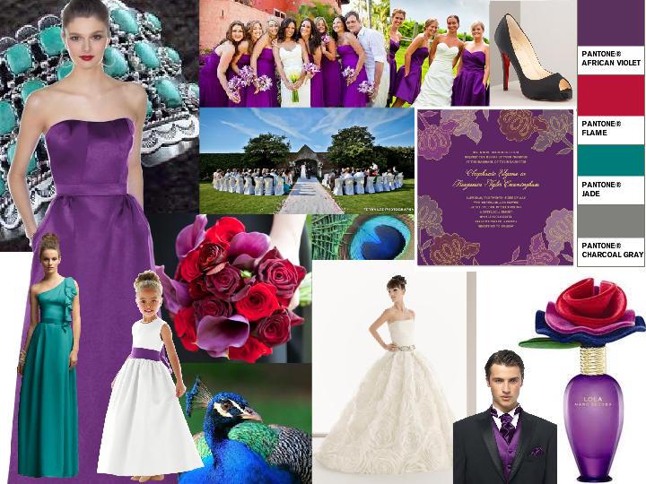 African Violet Red Jade PANTONE WEDDING Styleboard