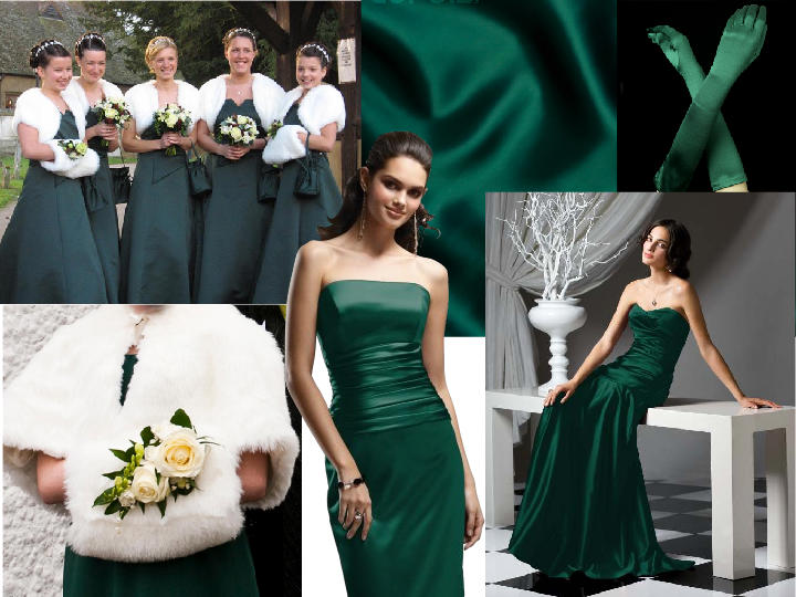 Bridesmaids Hunter Green : PANTONE WEDDING Styleboard | The Dessy ...