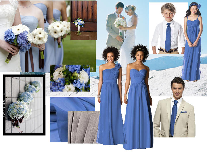 corn flower blue dresses with taupe belts and/or flowers : PANTONE ...