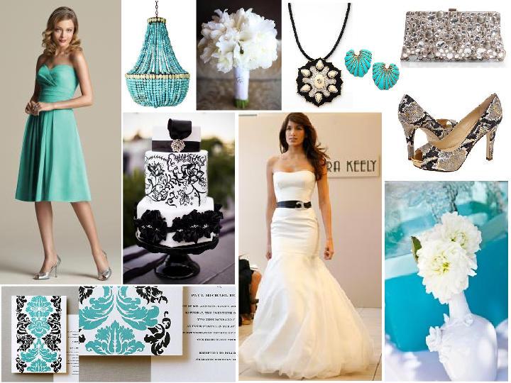 Turquoise, black and white wedding inspiration : PANTONE WEDDING ...