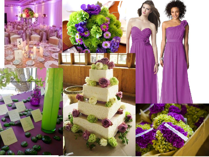 Purple Lime Green And Ivory Wedding Pantone Styleboard