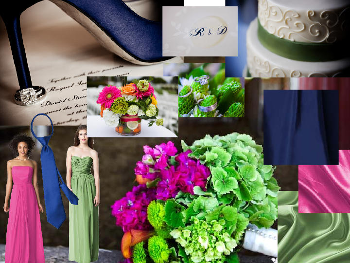Navy, Hot pink, green : PANTONE WEDDING Styleboard | The Dessy Group