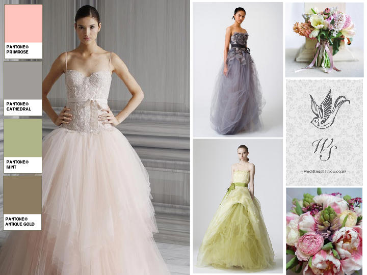 Pastel wedding dresses : PANTONE WEDDING Styleboard | The Dessy Group