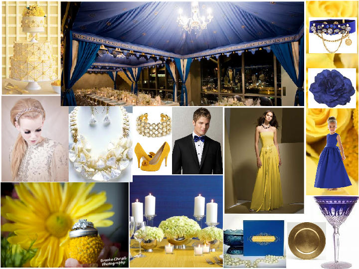Golden Colour Wedding Gowns: Cobalt Blue, Yellow And Gold : PANTONE WEDDING Styleboard