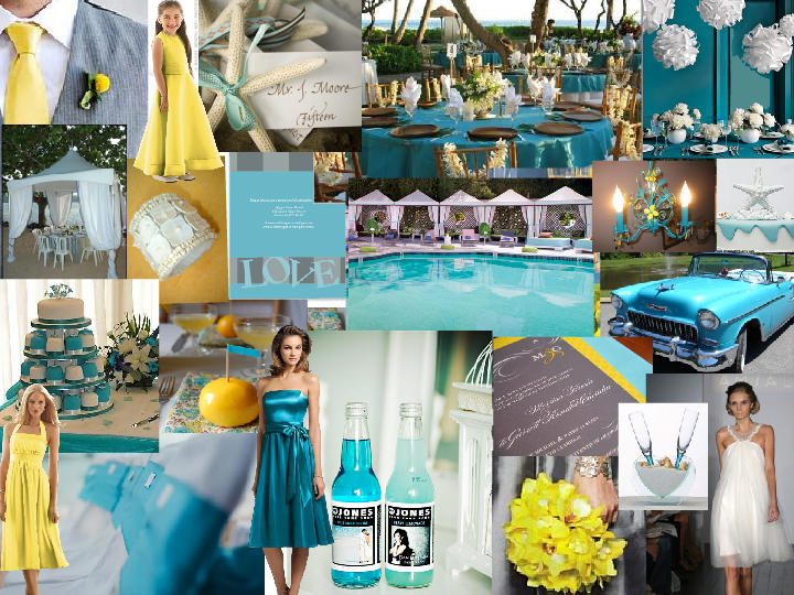 Teal Yellow Beach : PANTONE WEDDING Styleboard | The Dessy Group