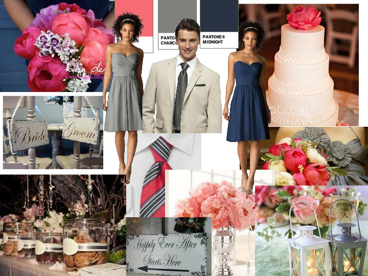 Navy And Coral Wedding Colors: Grey, Coral, Navy : PANTONE WEDDING Styleboard