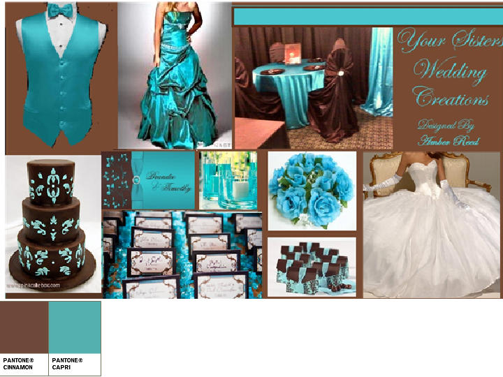 Brown And Teal Wedding Ideas: Turquoise And Chocolate Brown : PANTONE WEDDING Styleboard