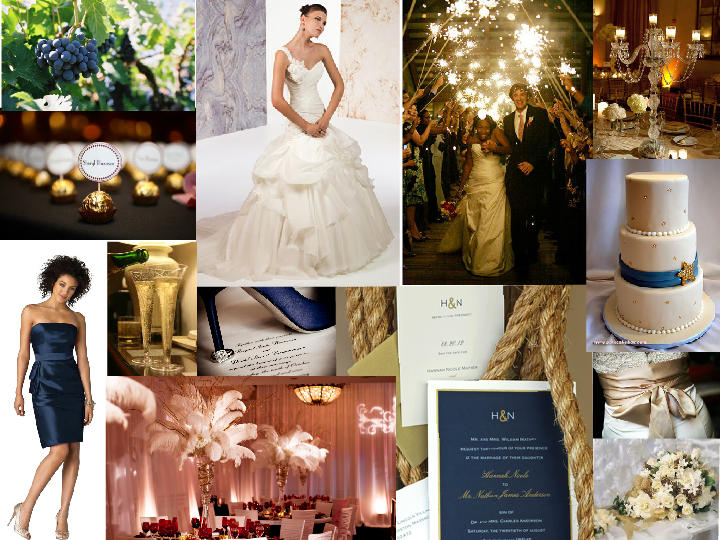 Navy Blue And Soft Gold Glam Pantone Wedding Styleboard