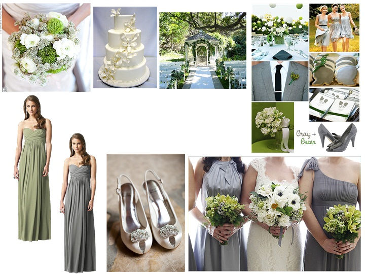 grey green ivory pantone wedding styleboard the dessy group