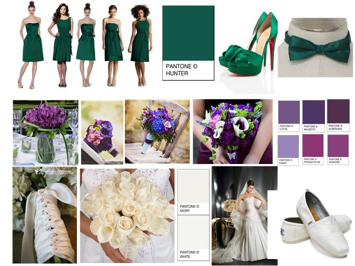 Hunter Green Aubergine Pantone Wedding Styleboard The Dessy Group