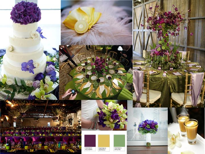 Purple Green And Gold Pantone Wedding Styleboard The Dessy Group