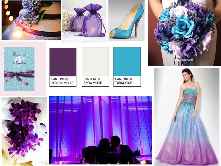 7f6a410ebd3d7 Violet Purple Turquoise Blue And Snow White Pantone Wedding