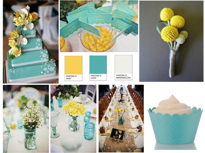 Inspiration Board Daisy Yellow Carpi Turquoise And Marshmallow White Pantone Wedding Styleboard The Dessy Group