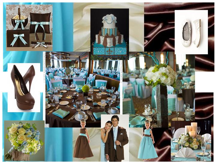 Pool Blue, Chocolate Brown & Ivory : PANTONE WEDDING