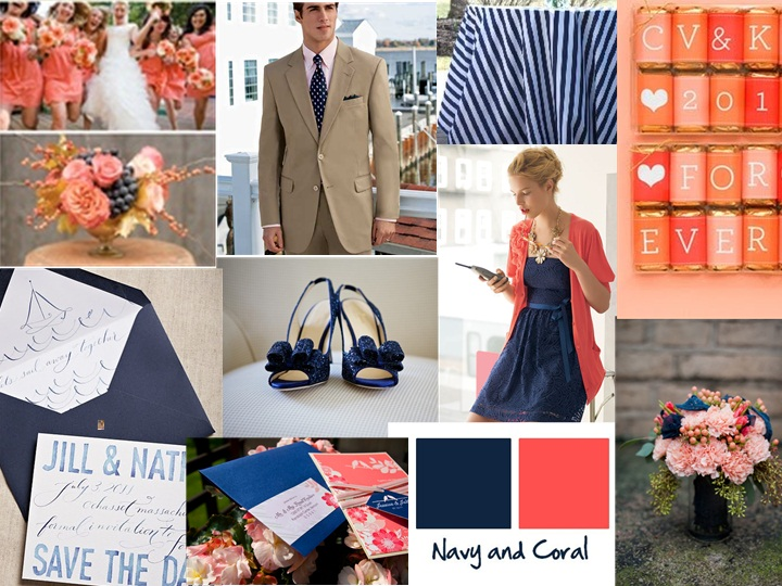 Navy And Coral Wedding Colors: Navy And Coral : PANTONE WEDDING Styleboard