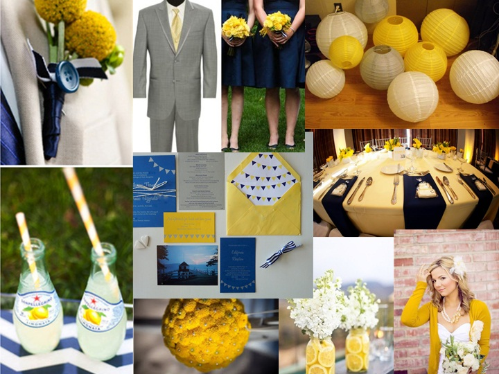 Navy Blue And Yellow Pantone Wedding Styleboard The Dessy Group